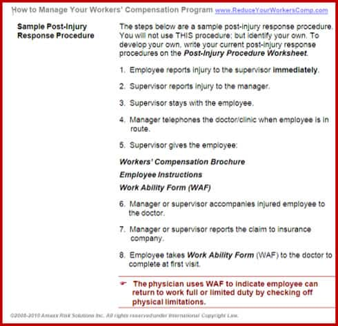 Post Injury Response2 Work Comp Roundup