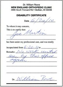 off work disability note